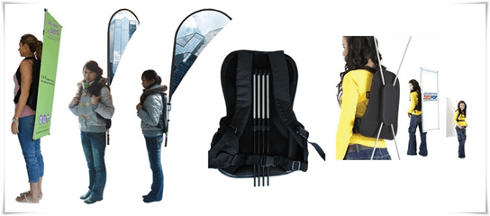 A backpack banners includes a printed x-banner attached to a bag. It helps maximize media attention towards your brand during an event. See a sample image here.