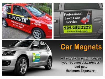Magnetic signs for cars and trucks or fridge
