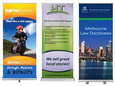 Roll-up banners, pull-up, retractable