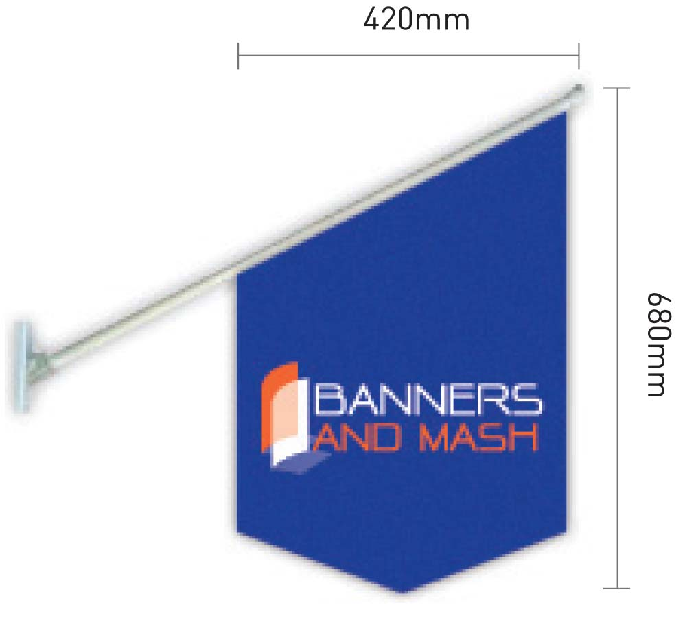 shop front flag banner size